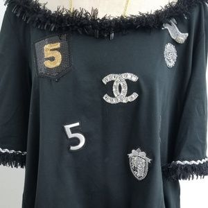 Chanel black embellished cotton t-shirt 40